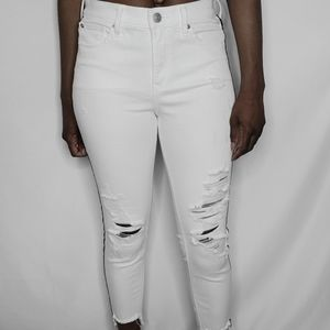 Express Midrise Black and White Cropped Jeans